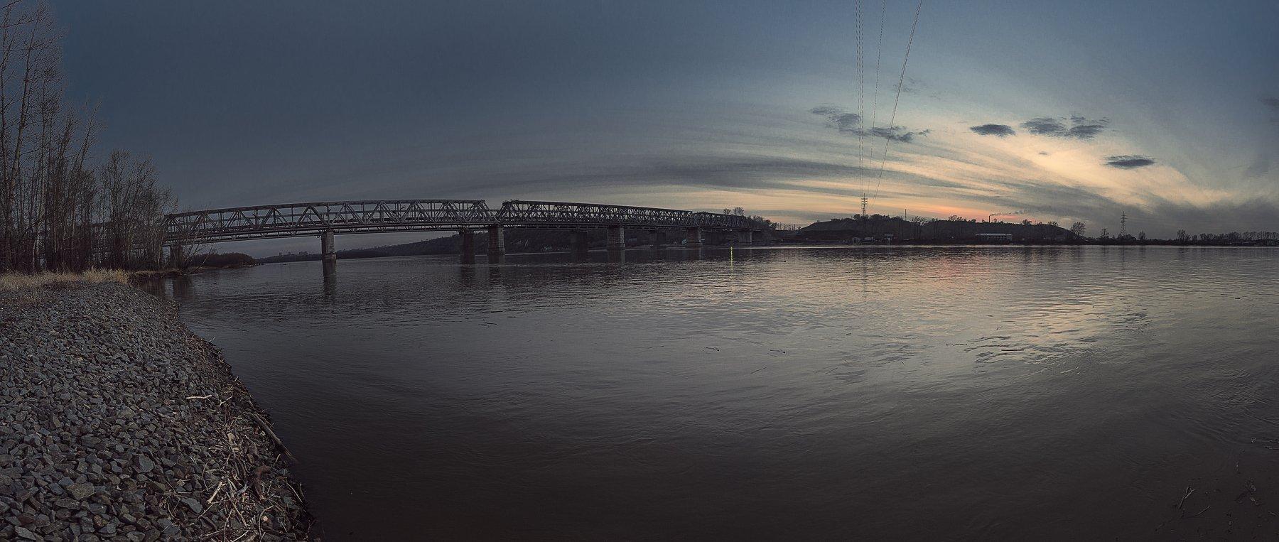 мост, обь, Барнаул, природа, закат, жд,небо, вода, Дмитрий Моисеев