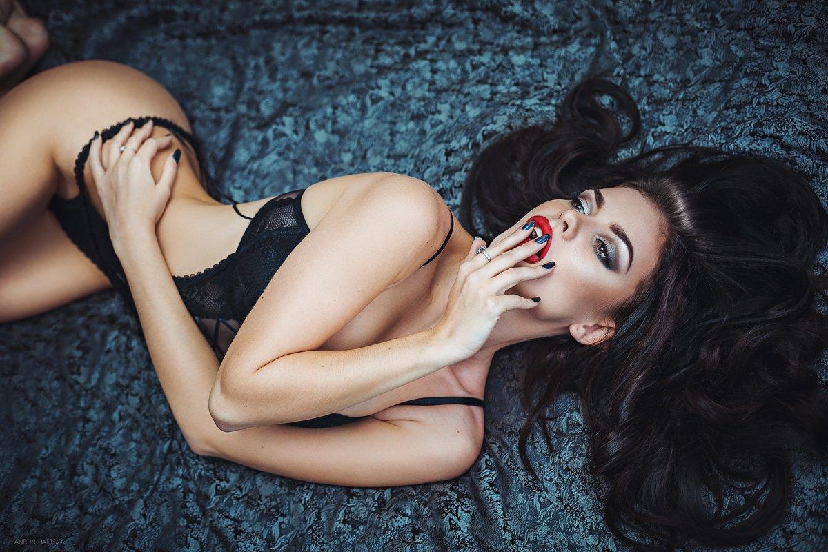 девушка, бельё, постель, красота, портрет, боди, Антон Харисов