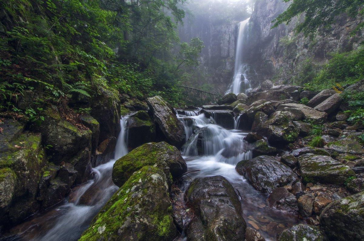 Водопад, туман, вода, камни, Приморский край, Виталий Берков