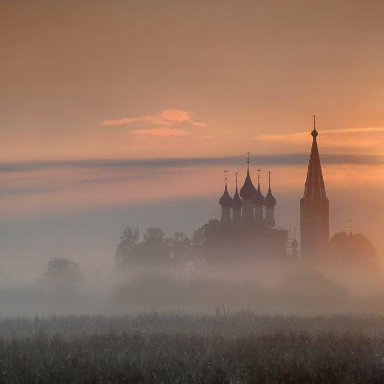 пейзаж, рассвет, утро, туман, храм, Дунилово, Ивановская область, Александр Бархатов