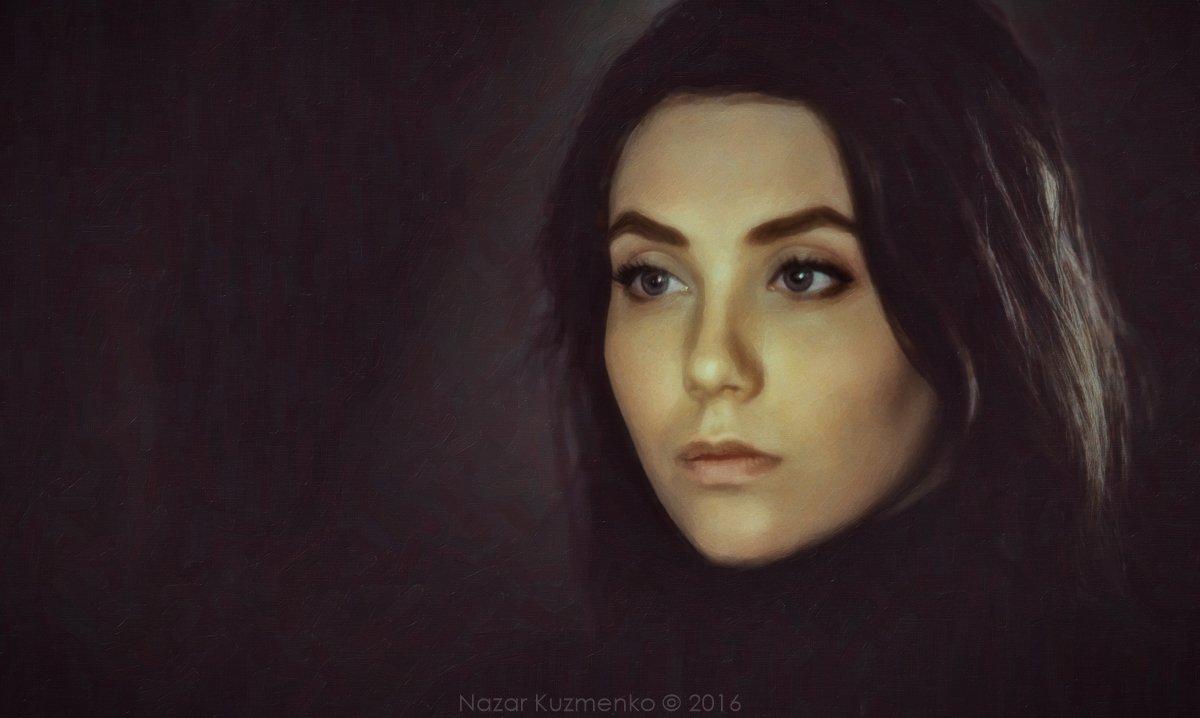 портрет, девушка, картина, холст, взгляд, арт, Назар Кузьменко