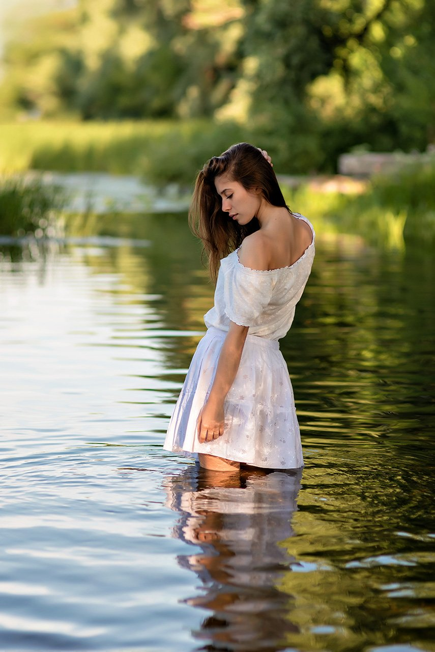 Вода, Девушка, Лето, Портрет девушки, Река, Утро, AlexeyAsoskov