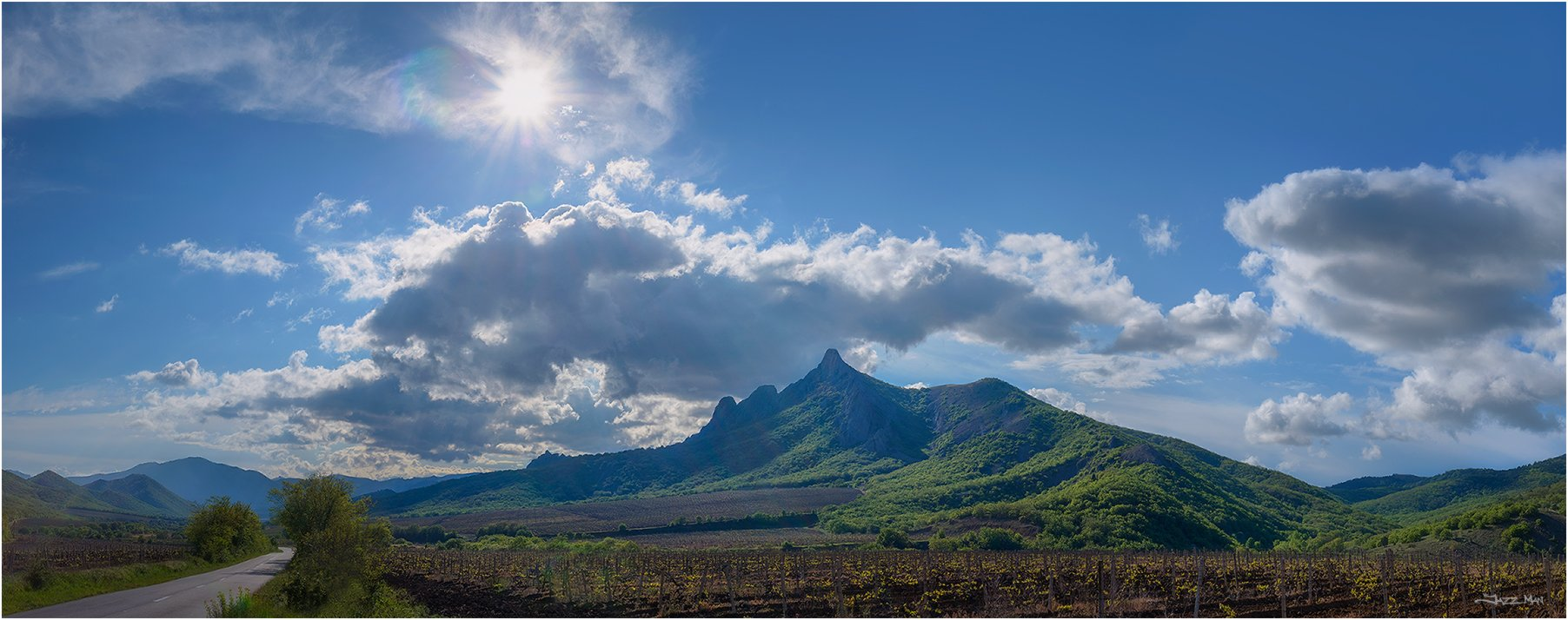 крым, крымские горы, лес, небо, облака, панорама, пейзаж, виноградники, солнце, Jazz Man