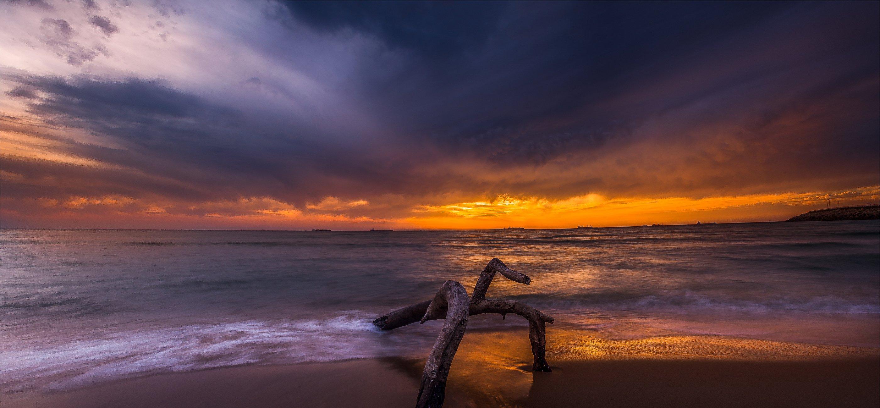 Blue, Clouds, Colorful, Sea, Waves, Миша Шнеер