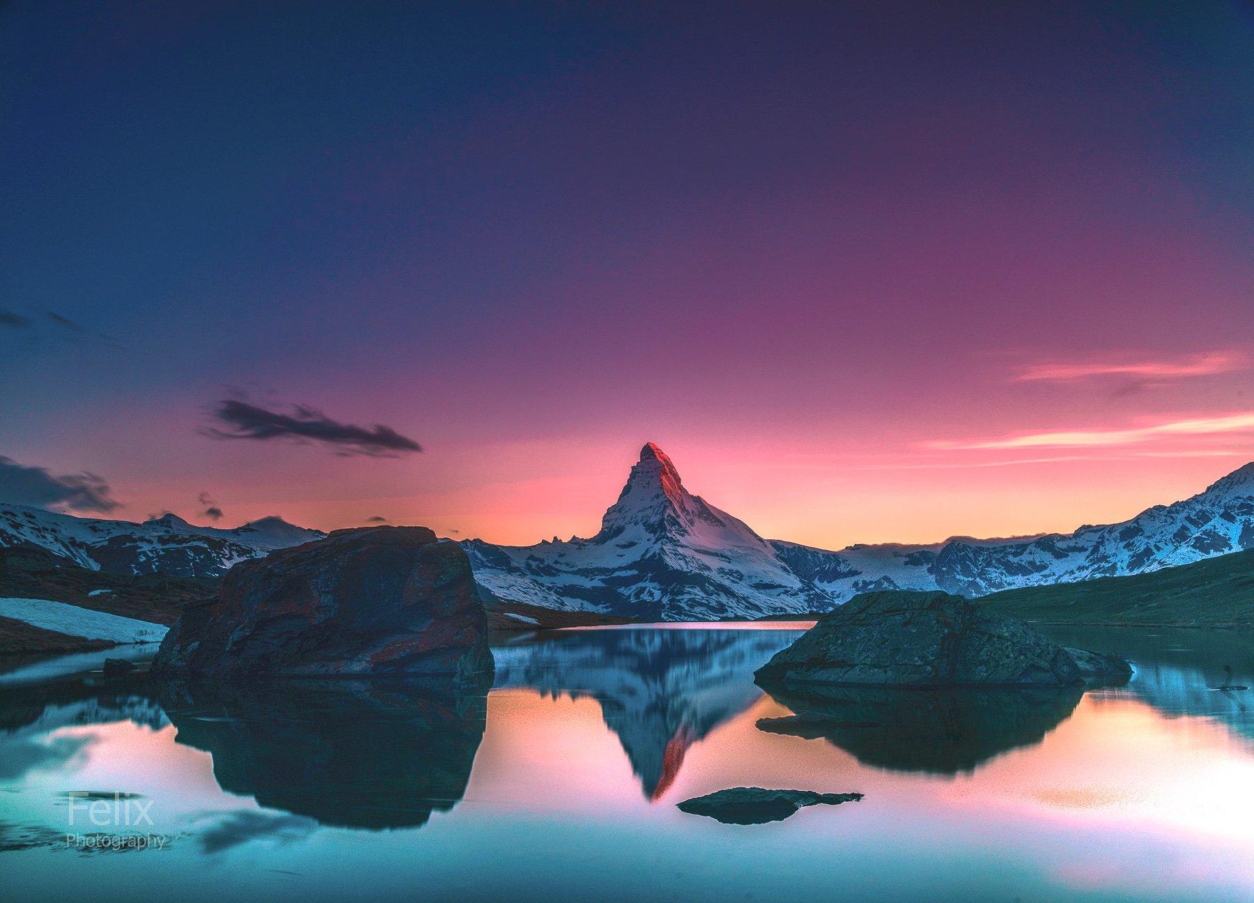 mountains,switzerland,matterhorn,sunset,, Felix Ostapenko