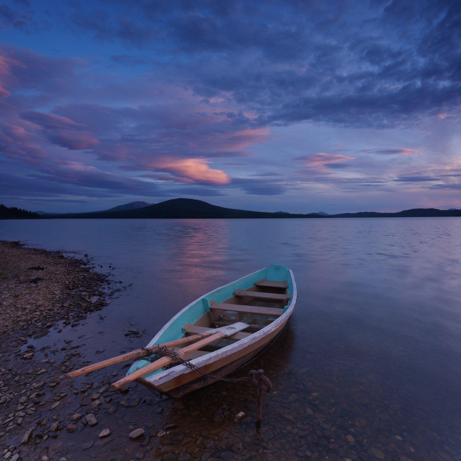 закат, зюраткуль, лодка, озеро, облака, Михаил Трахтенберг ( t_berg )