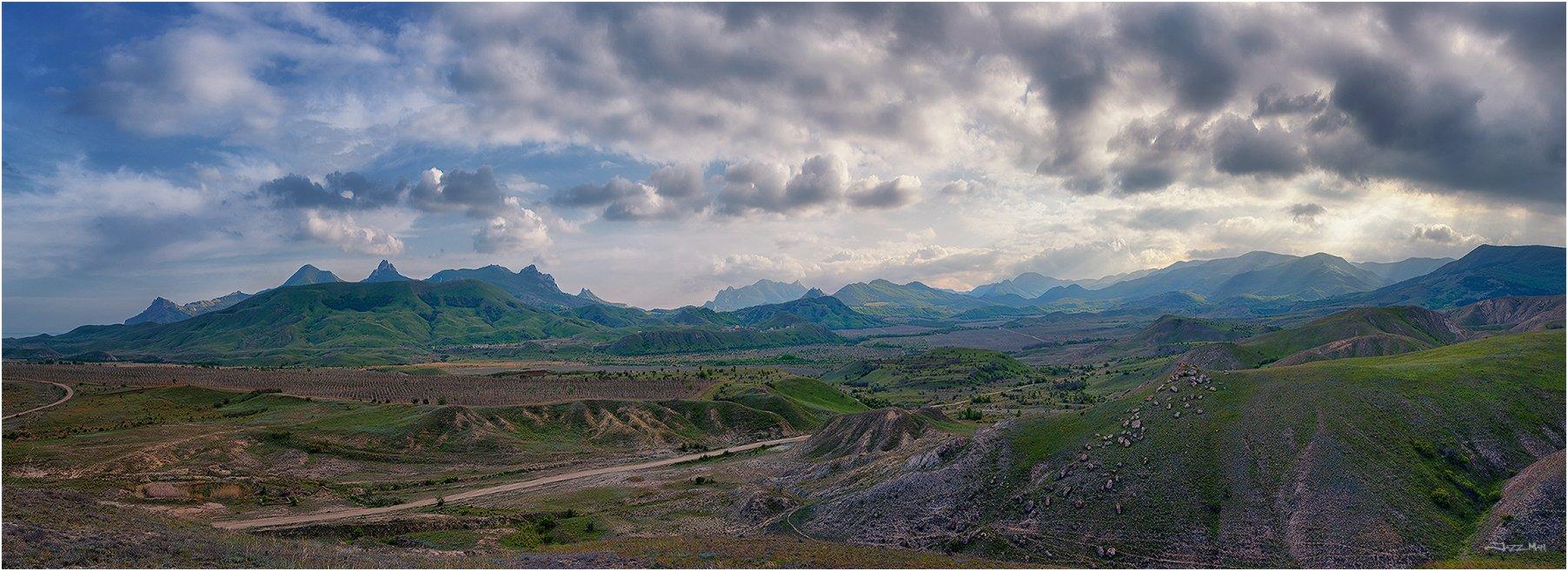 Вечер, Горы, Долина, Закат, Коктебель, Крым, Небо, Облака, Панорама, Пейзаж, Jazz Man