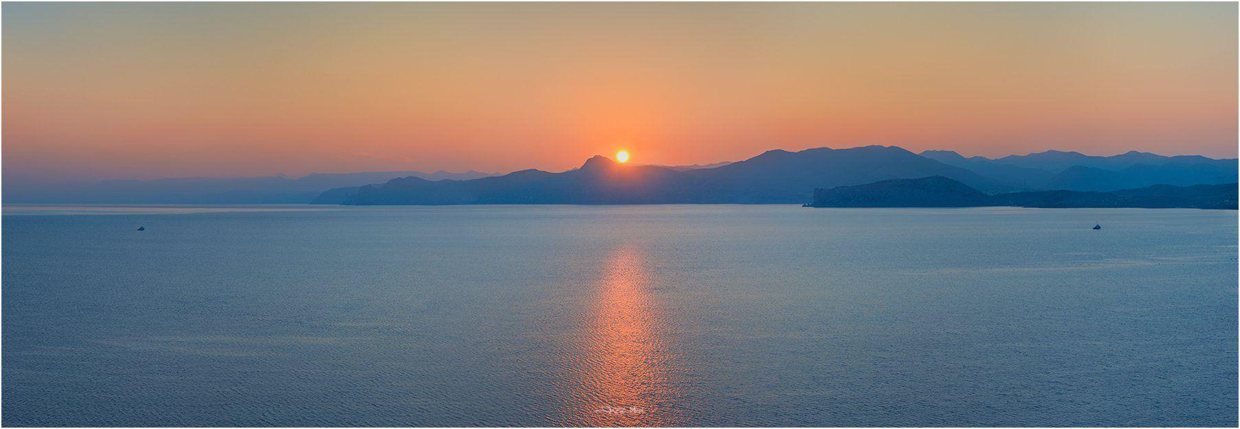 Горы, Закат, Корабли, Крым, Крымские горы, Море, Панорама, Солнце, Черное море, Jazz Man