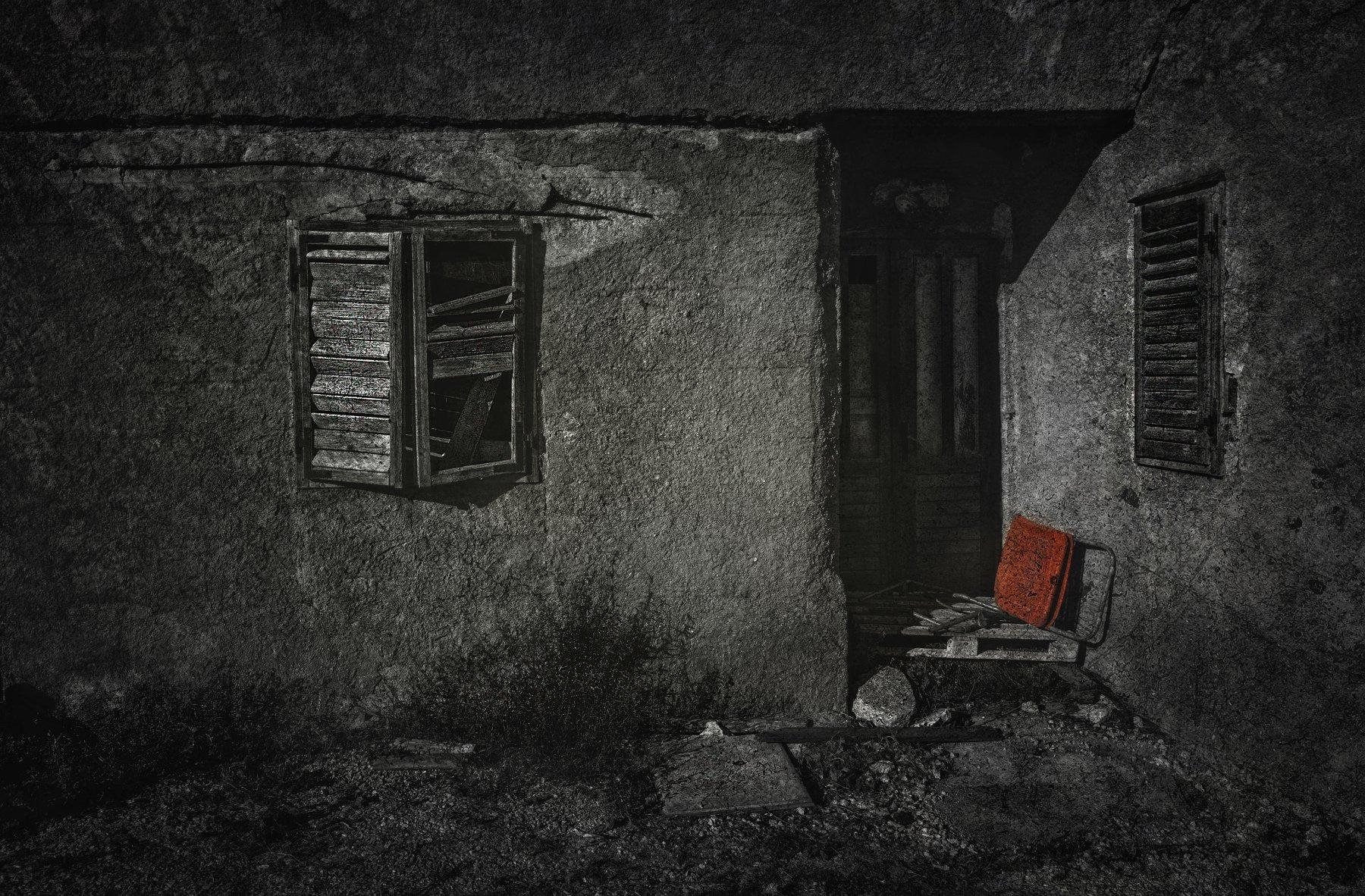 architecture, art, bw, chair, croatia, door, house, pasman, red, trogir, wall, window, арт, архитектура, дверь, дом, красный, остров, стена, стул, хорватия, цвет, чб, Сергей Нестеров