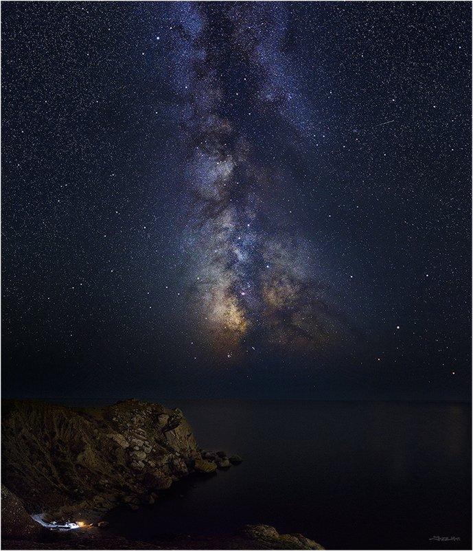 Галактика, Звездное небо, Звезды, Камни, Млечный путь, Море, Морской пейзаж, Ночной пейзаж, Ночь, Панорама, Пляж, Скалы, Черное море, Jazz Man