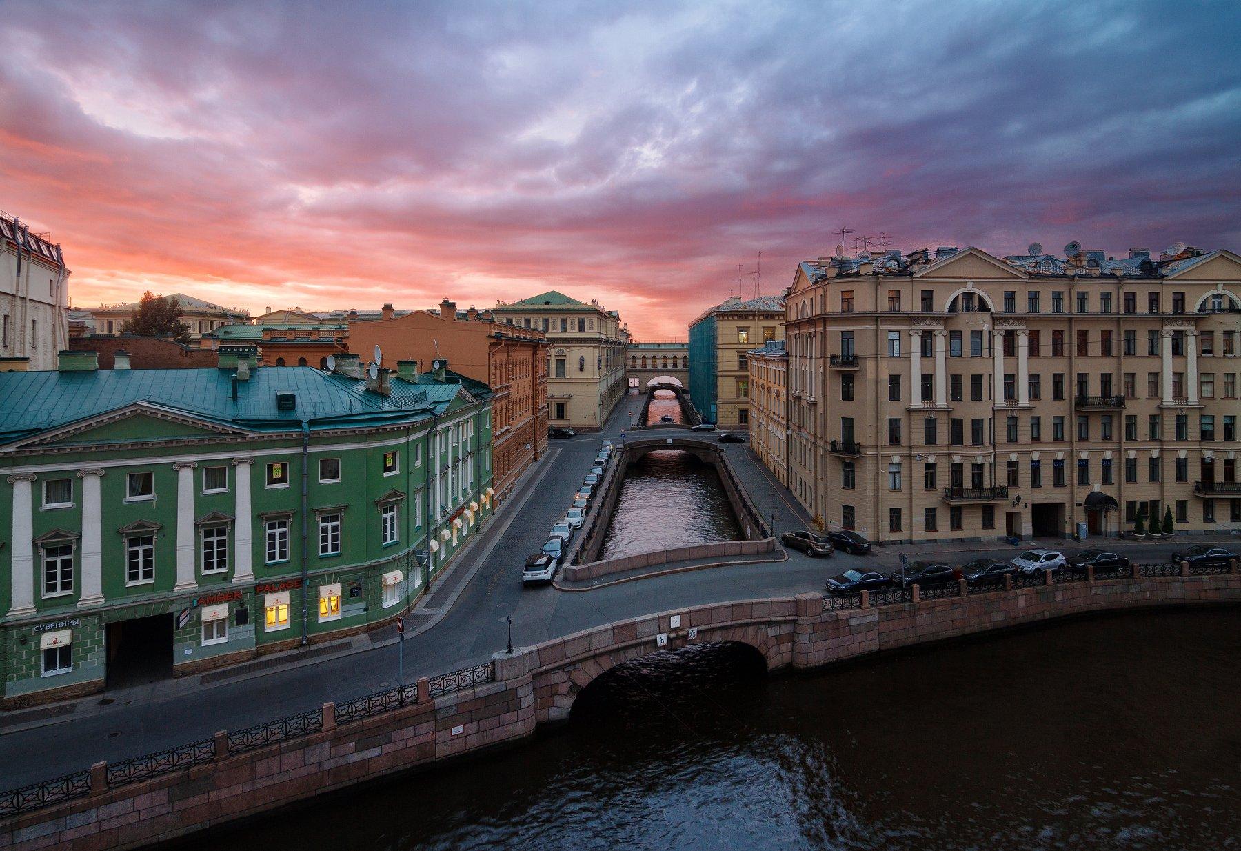Санкт-Петербург, закат, небо, мост, город, пейзаж, Urban Exploration, Голубев Алексей
