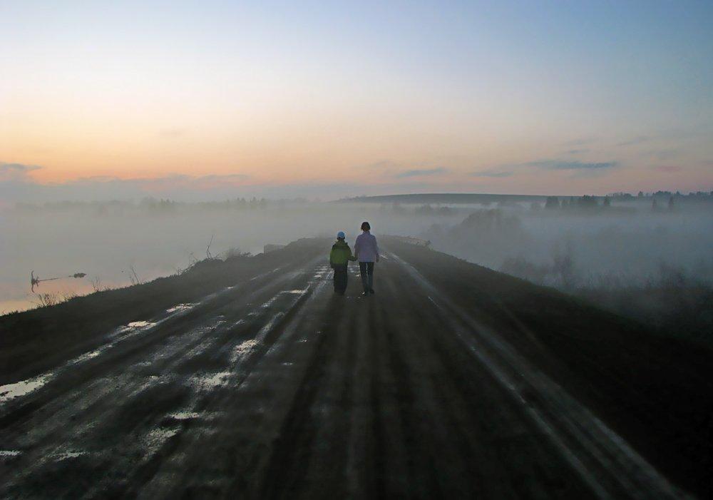 туман,дорога,двое,закат,удмуртия, Андрей,любитель 35photo