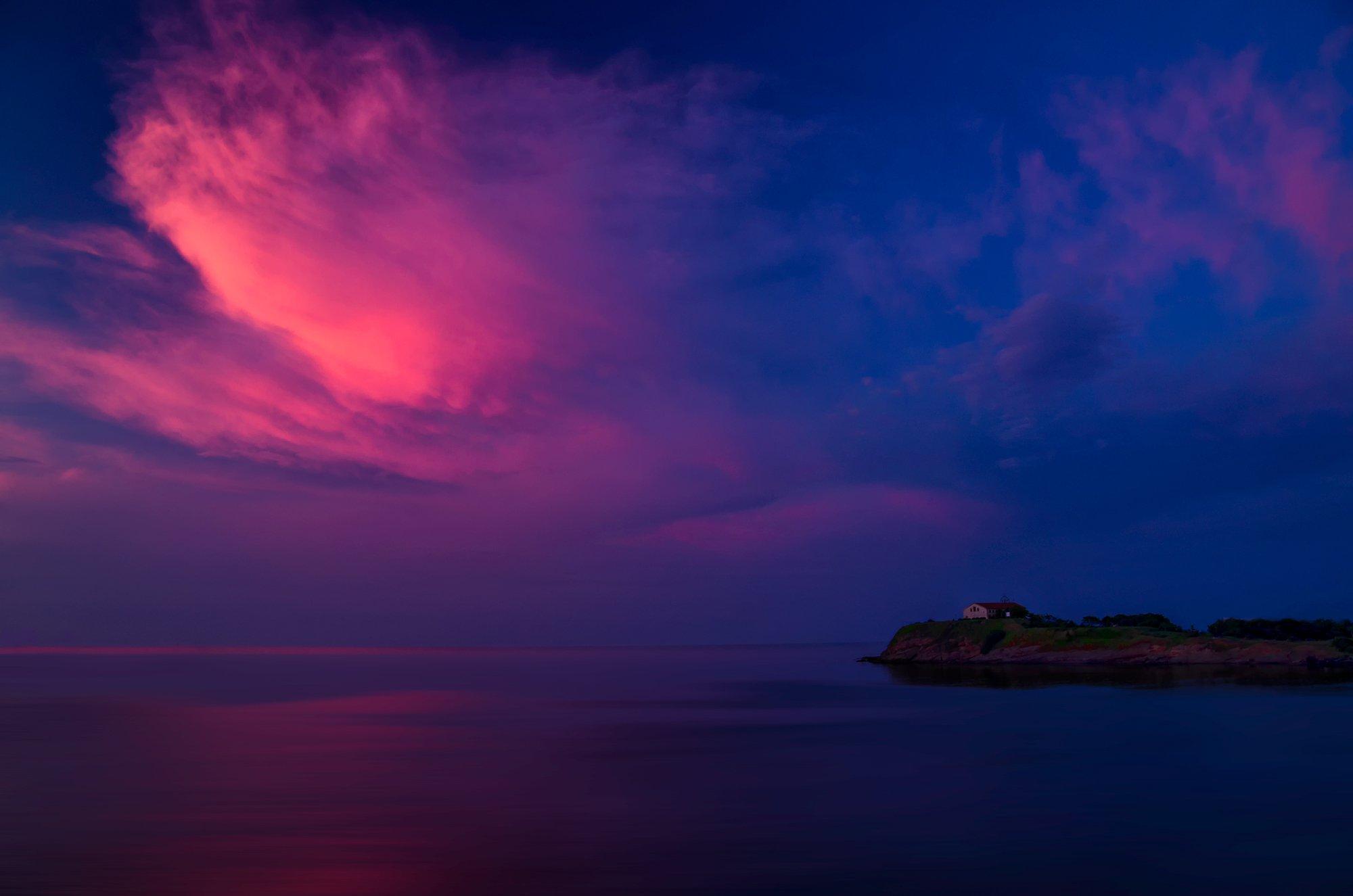 sunrise, cloud, church, prayer, sea, Demenzzi