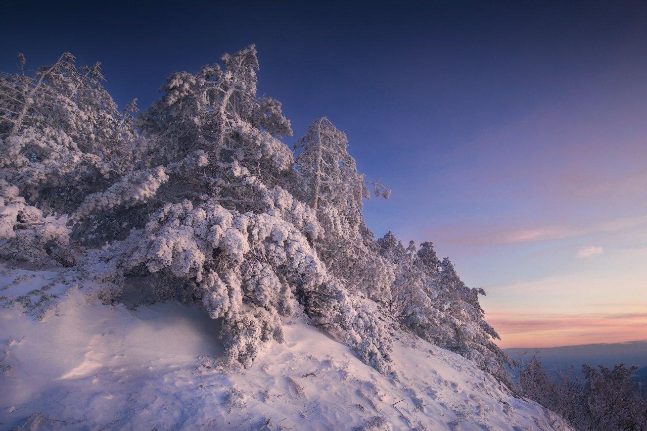 крым, демерджи, зима, снег, закат, Андрей Уляшев