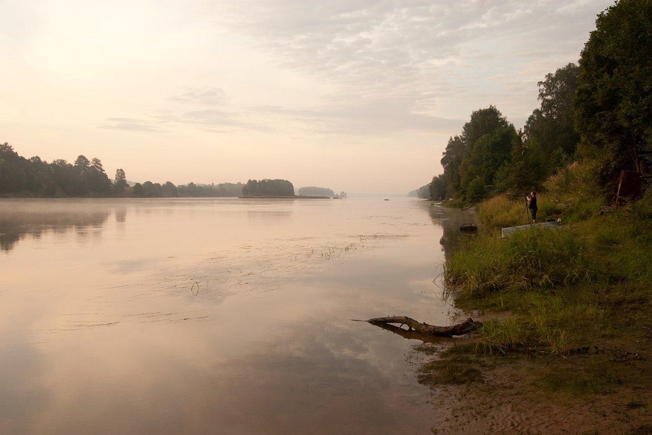 река, вуокса, утро, Михаил