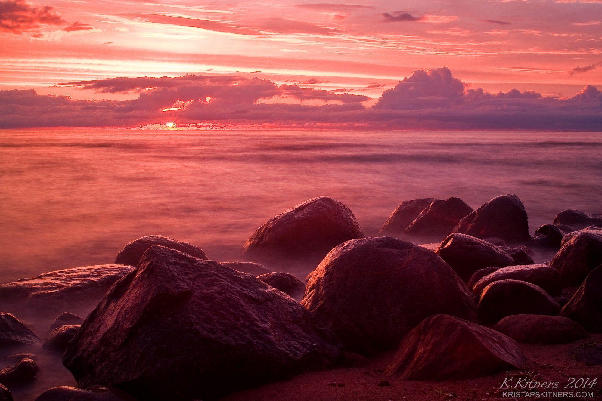 sea seascape water sky clouds stone reflection sunset evening latvia, Kristaps Kitners