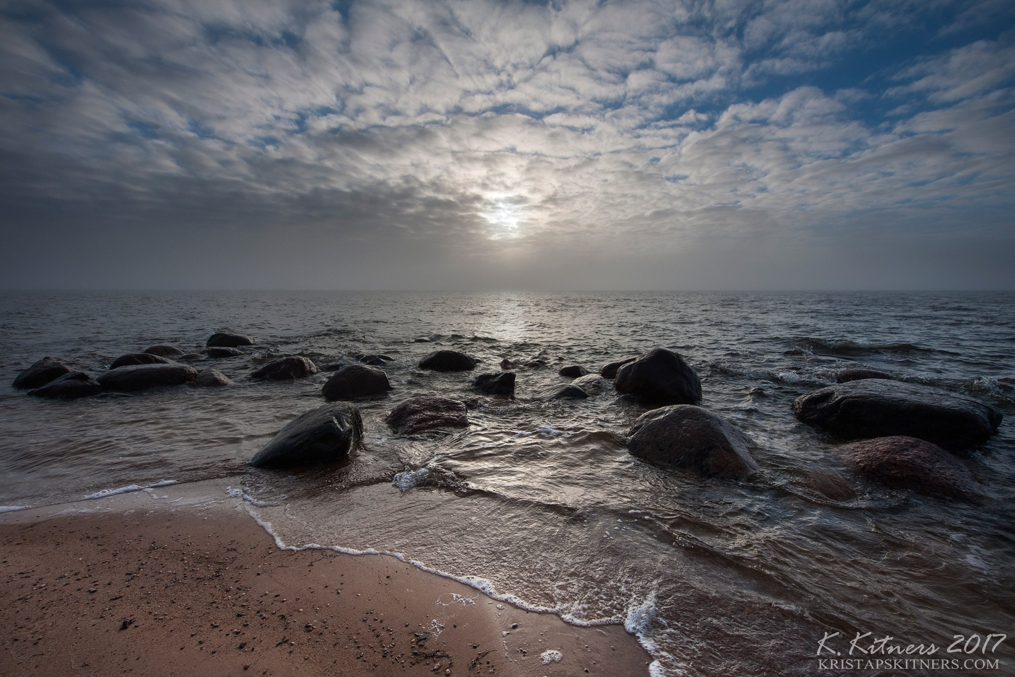 sea seascape fog smoke sun light water sky clouds stone reflection latvia, Kristaps Kitners
