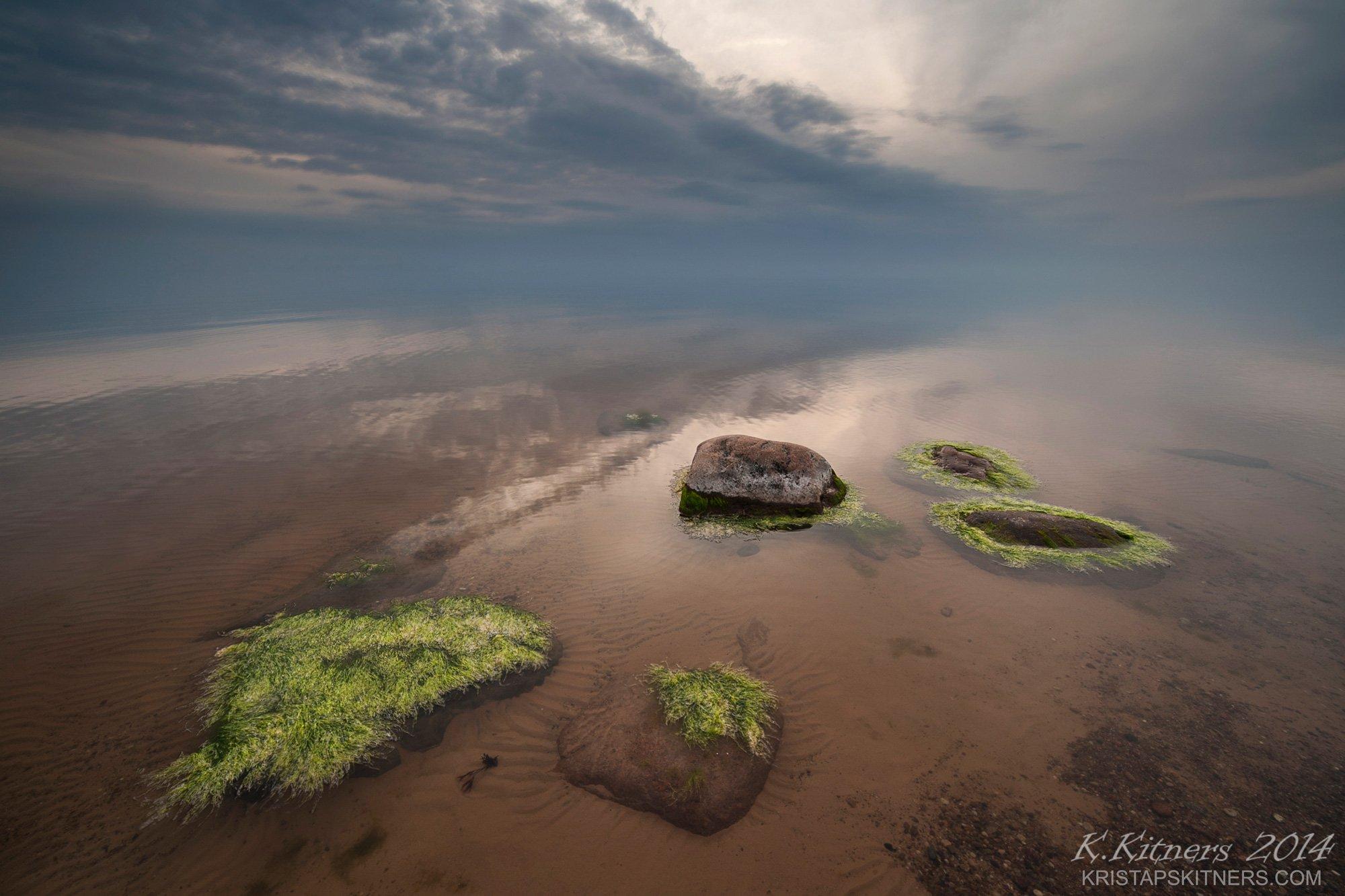 sea seascape water grass fog sky clouds stone reflection sunset evening latvia, Kristaps Kitners