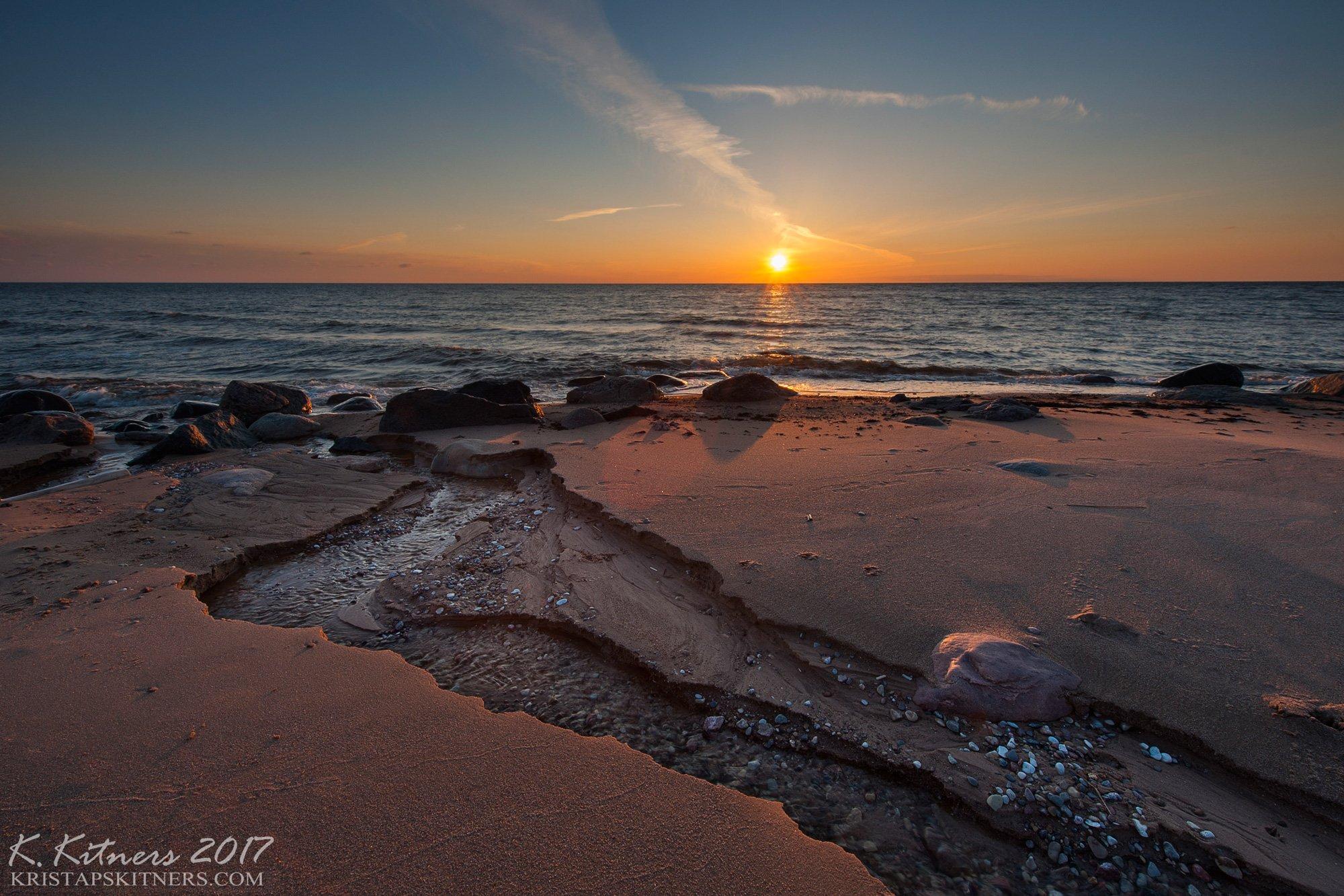 sea seascape water river wave sky clouds stone reflection sunset evening latvia, Kristaps Kitners