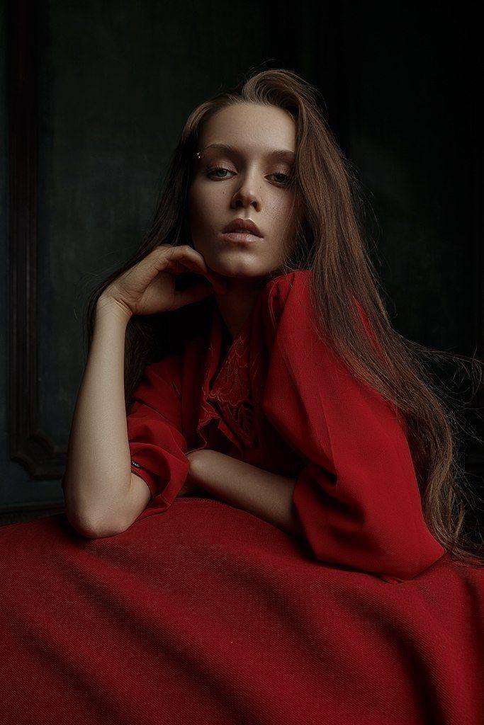 young, girl, woman, beauty, red, color, green, portrait, light, dark, art, emotion, hair, eyes, Гладков Степан