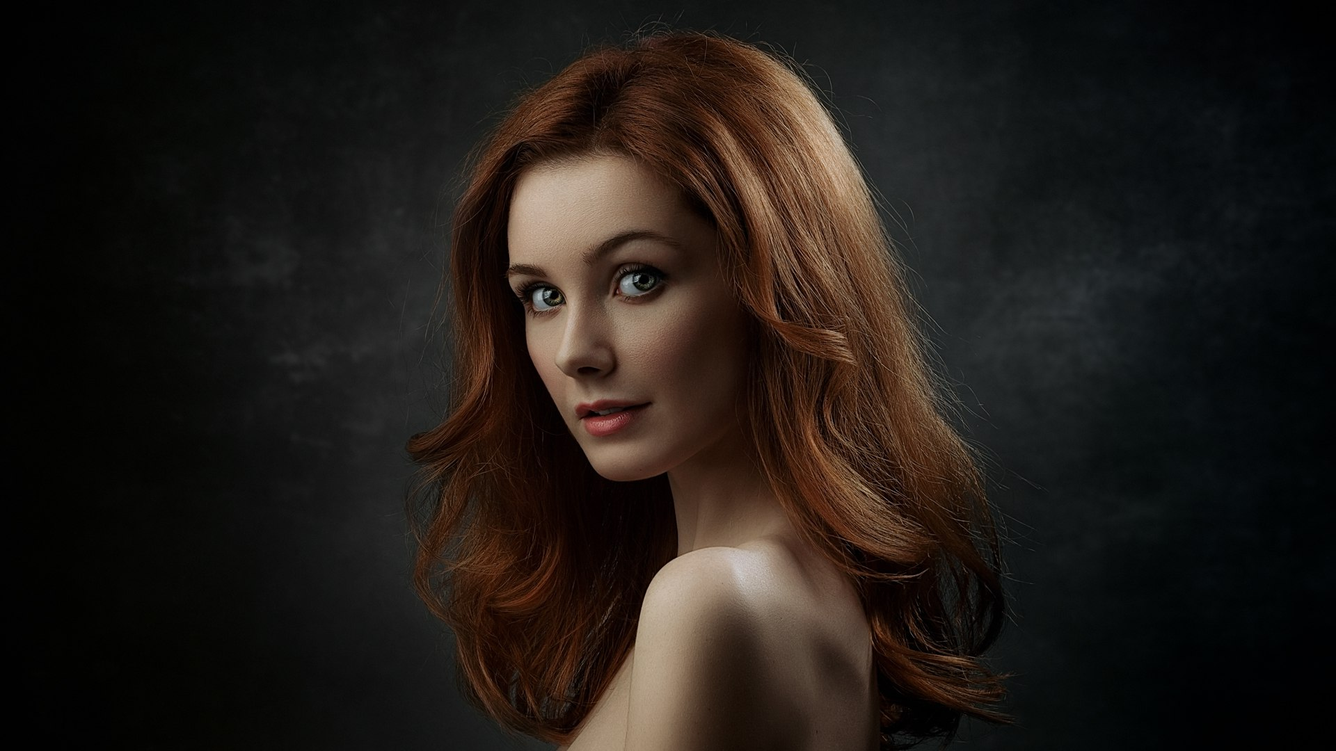 young, beauty, girl, woman, red, hair, color, eyes, emotions, portrait, light, dark, model, Гладков Степан