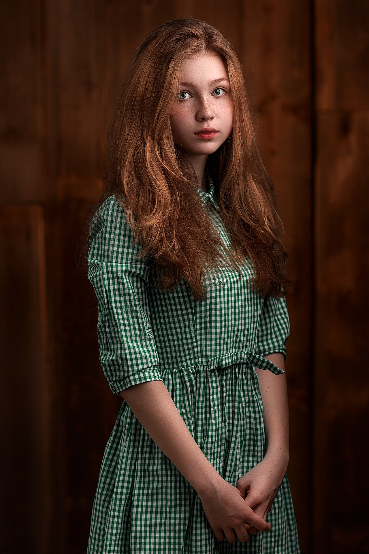 young, beauty, girl, red, color, hair, green, dress, art, shy, model, eyes, emotions, portrait, light, Гладков Степан
