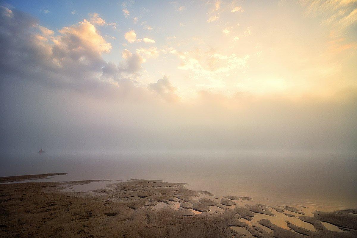река, закат, солнце, отражение, облака, вечер, Пушкарев Николай