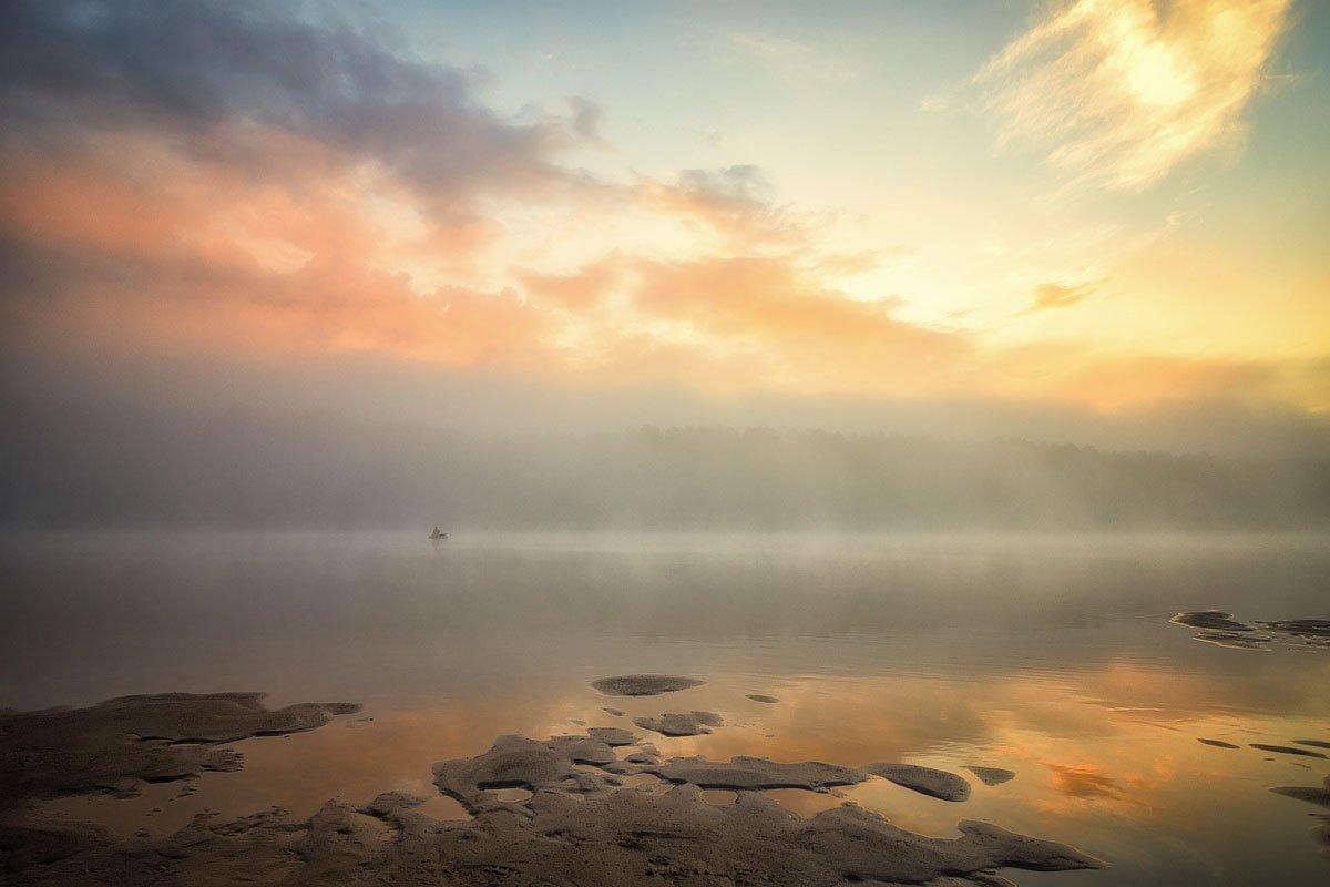 река, закат, солнце, отражение, облака, вечер, туман, Пушкарев Николай