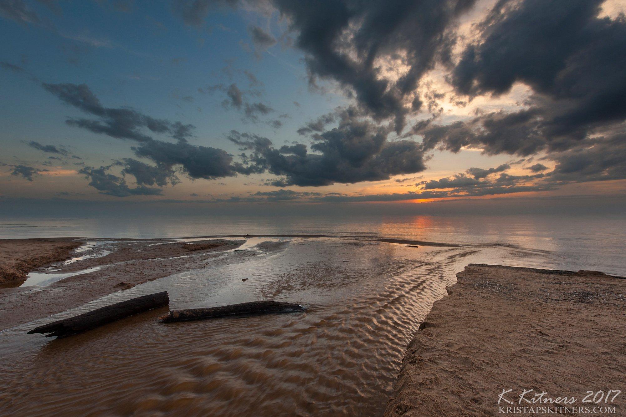 sea seascape river water sky clouds branch coast beach sand sunset evening latvia, Kristaps Kitners