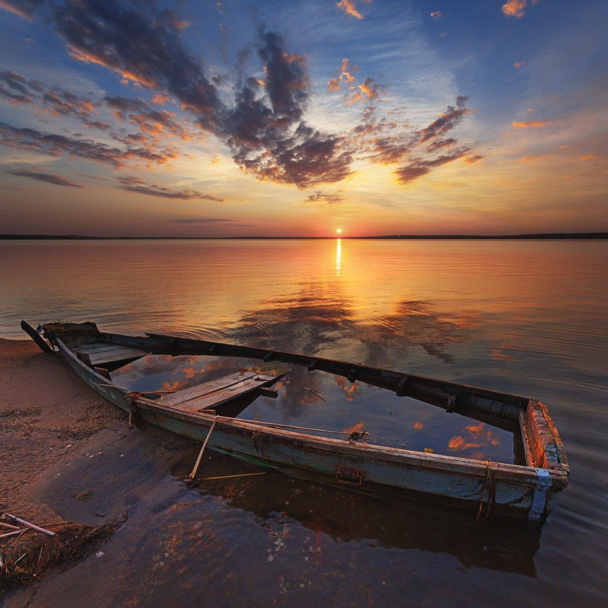 закат, лодка, озеро, Михаил Трахтенберг ( t_berg )