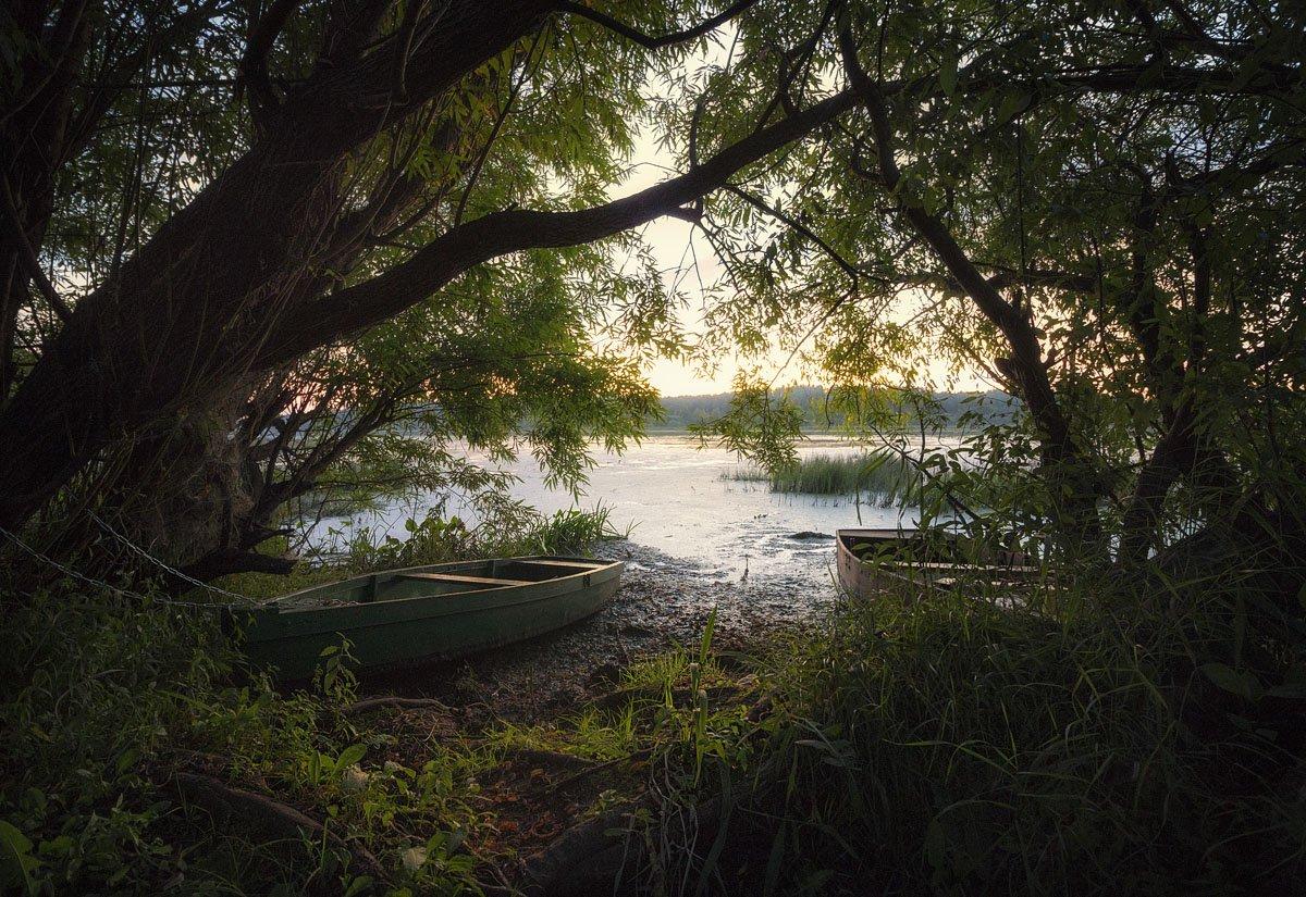 озеро, закат, солнце, лодка, облака, вечер, Пушкарев Николай