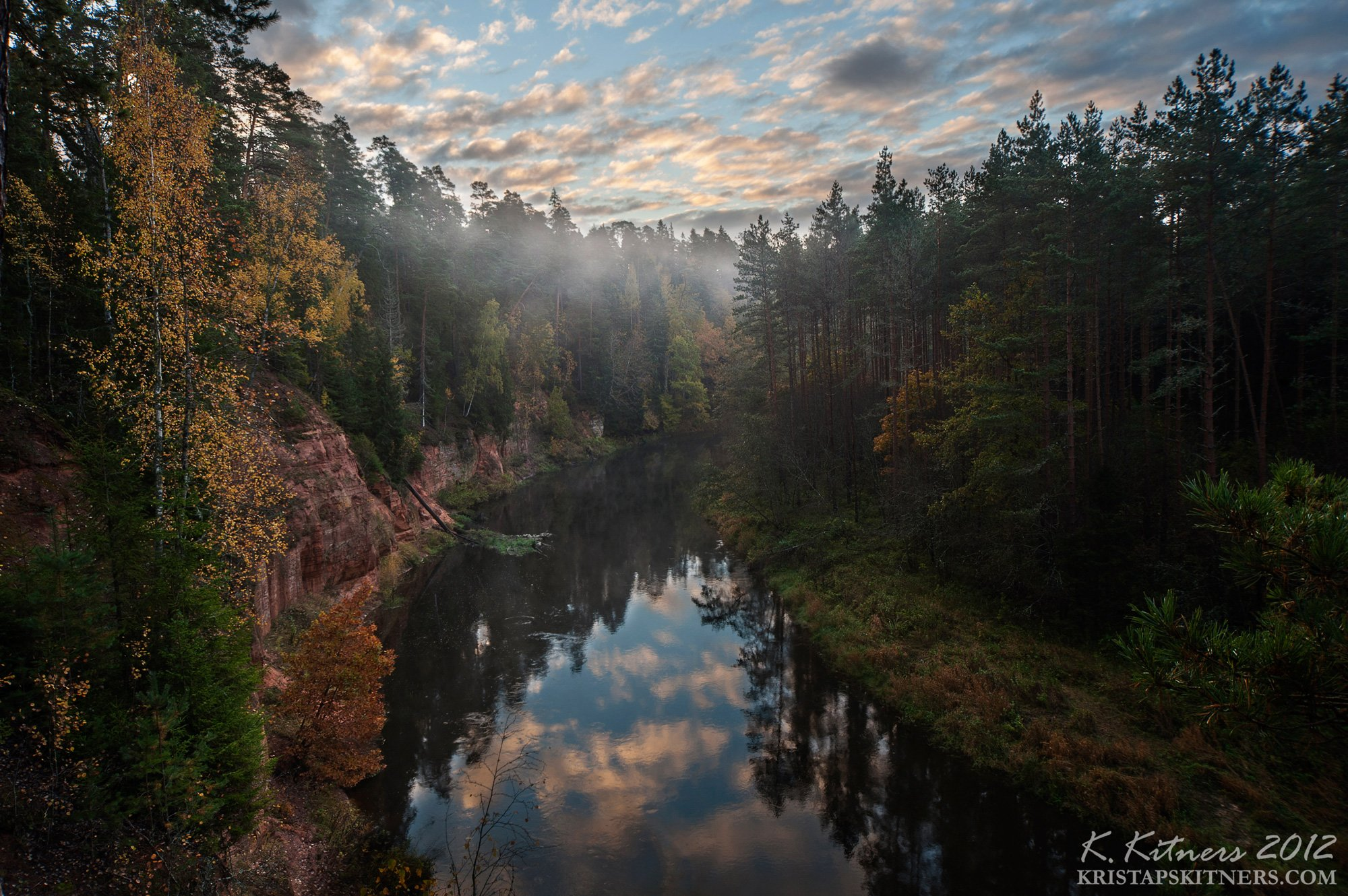 river cliff reflection autumn forest tree leaf fog morning sky clouds, Kristaps Kitners