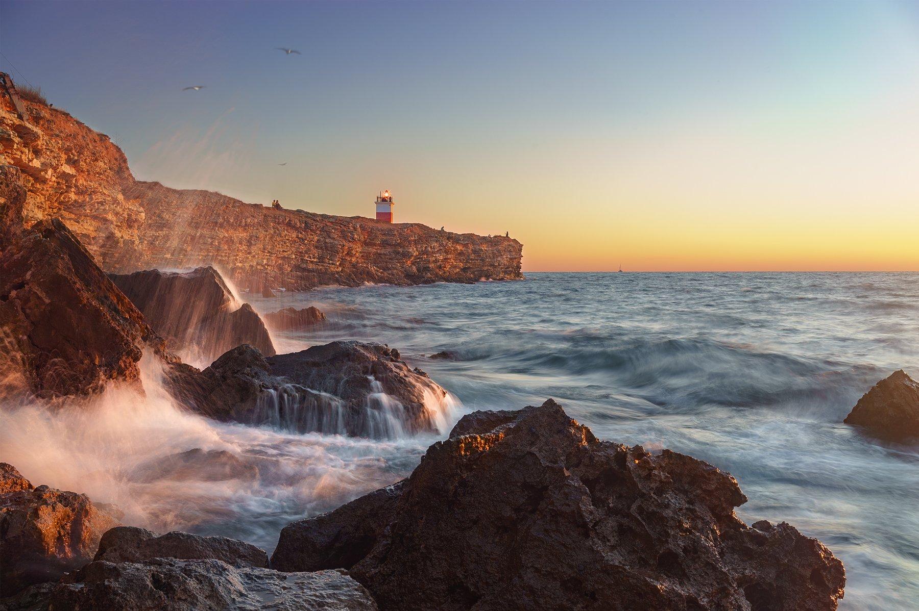 маяк, море, закат, берег, Макс
