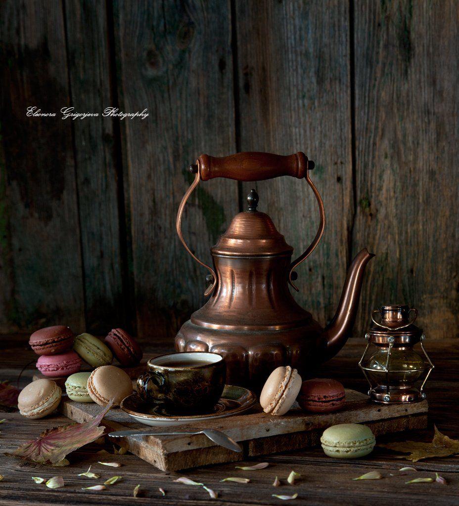 кофе, печенье, медный, чайник, макарунсы, натюрморт, Eleonora Grigorjeva