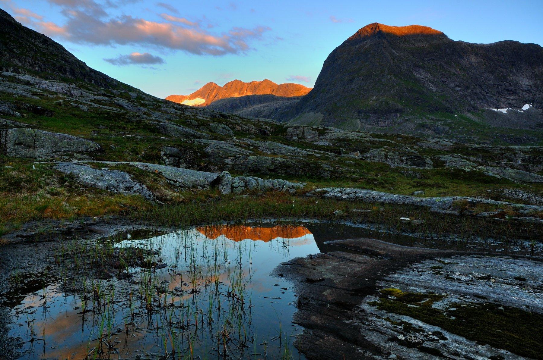 Norway, mirror, reflection, mountain, rock, lake, Jiří Kuchař