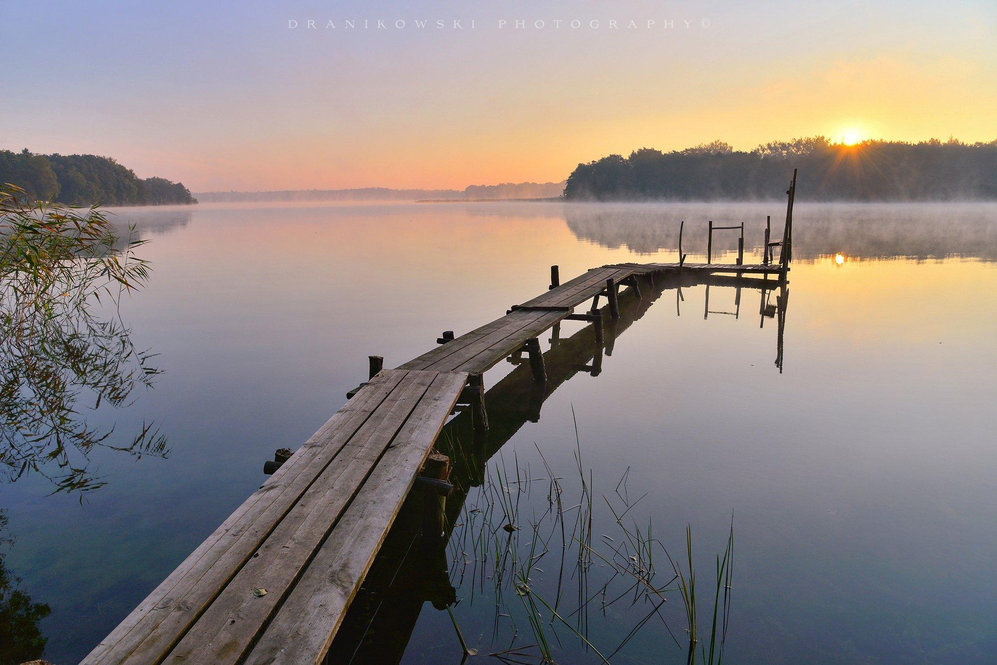 утро озере morning lake water sun landscape bridge grass sunrise, Radoslaw Dranikowski