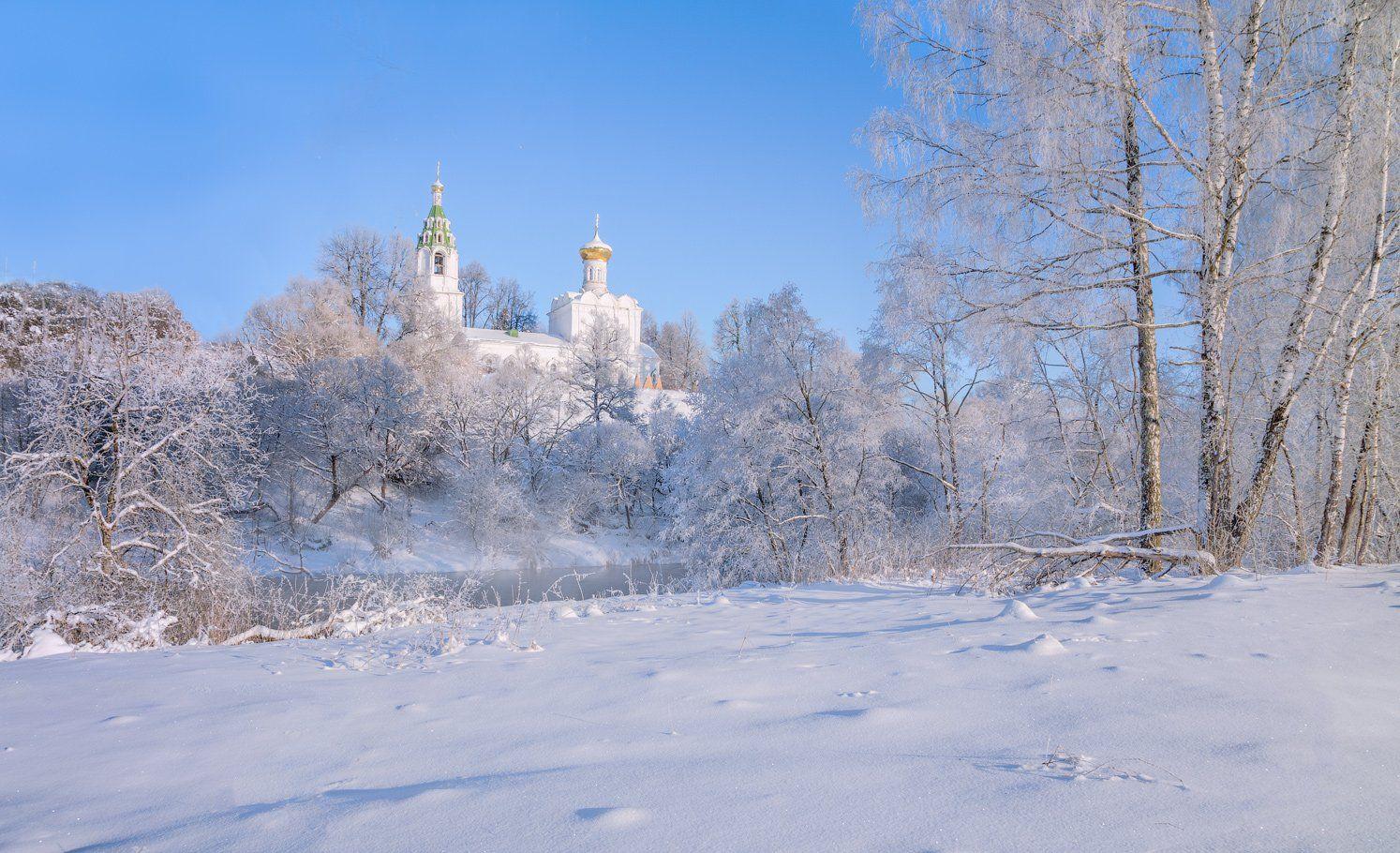 зима, утро, река, солнце, храм, Виктор Климкин