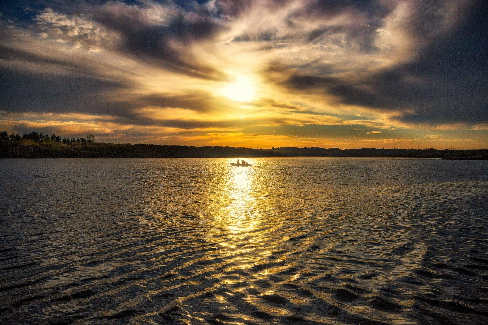 закат, осень, река, небо, облака, отражение, солнце, Пушкарев Николай