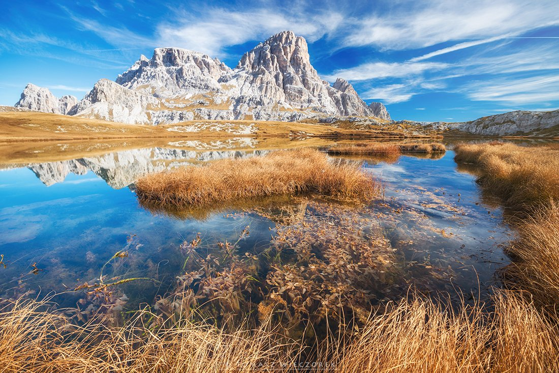 dolomities, dolomiti, mountains, italia, italy, sunset, sunrise, pond, reflection, light, red, orange, autumn, colours, lago, Tomasz Wieczorek