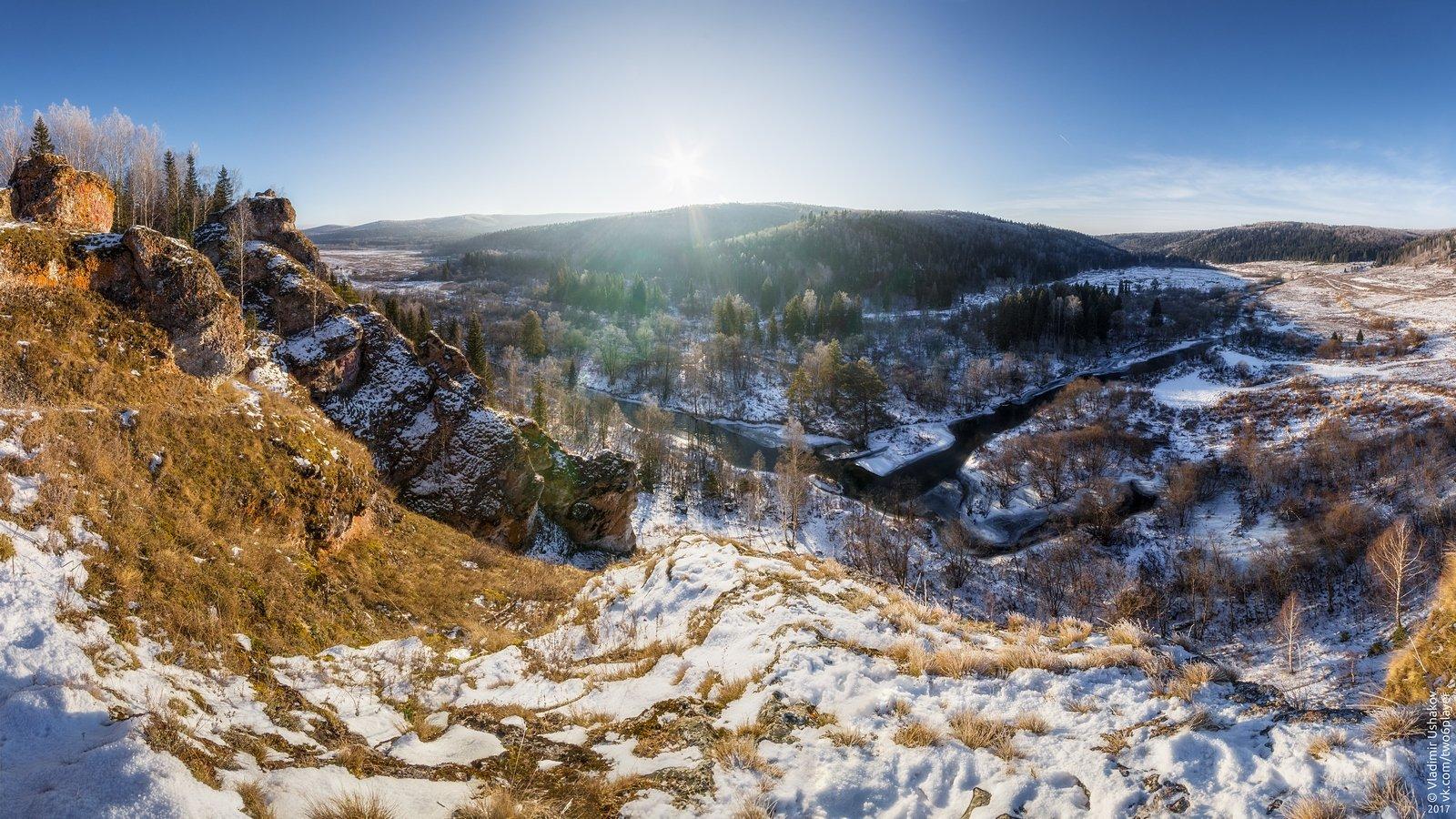 утро, солнце, зима, река сарана, аликаев камень, марьин утес, свердловская область, Владимир Ушаков