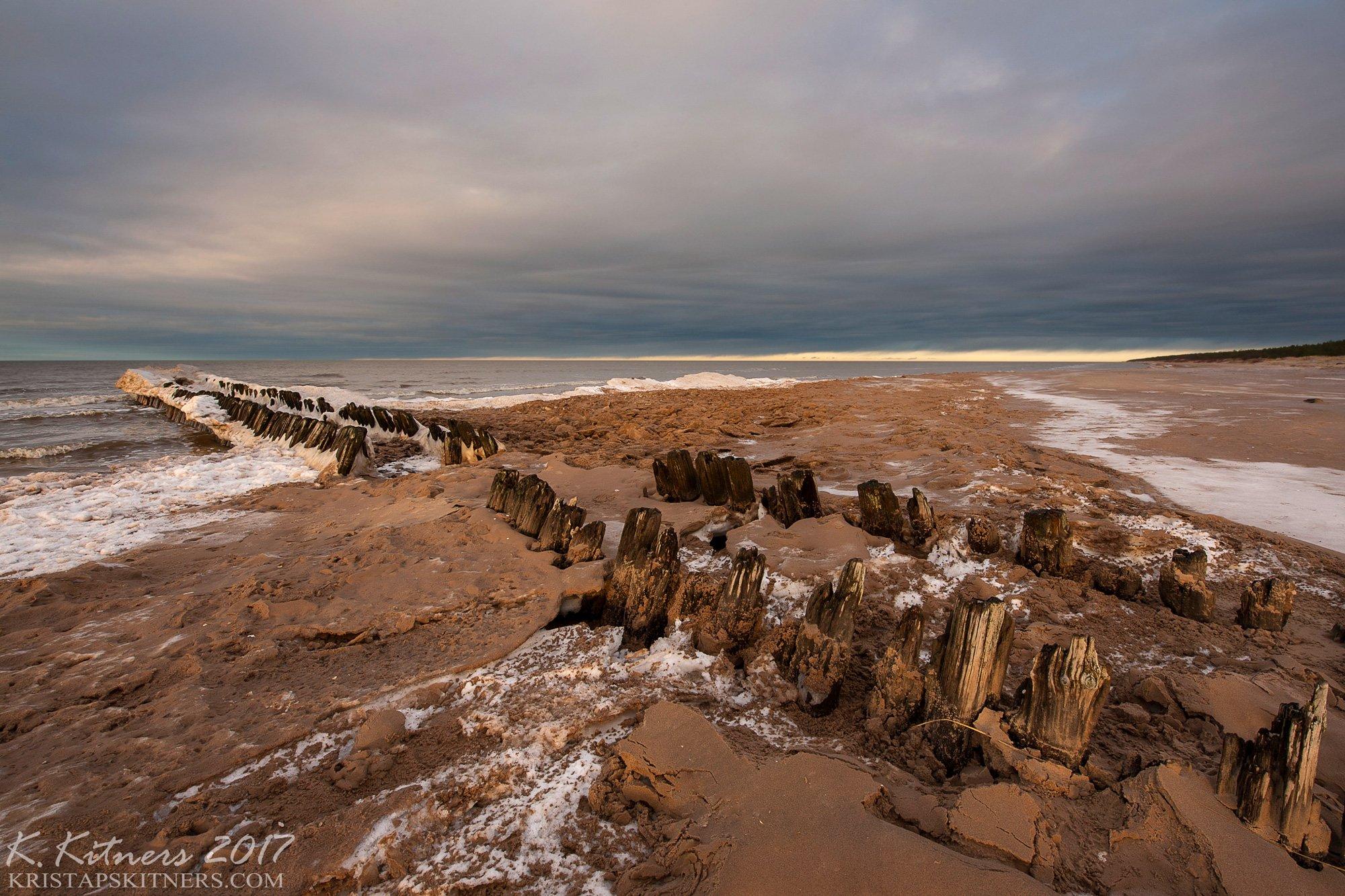 sea seascape ice snow winter sky clouds pier evening latvia, Kristaps Kitners