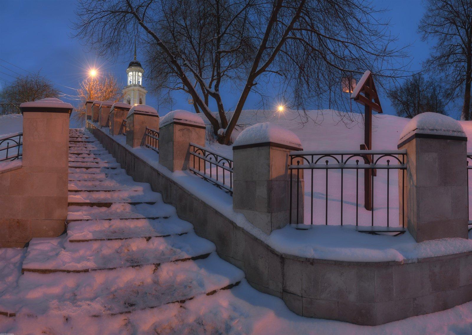 церковь храм архитектура пейзаж ночь лестница, Морозов Юрий