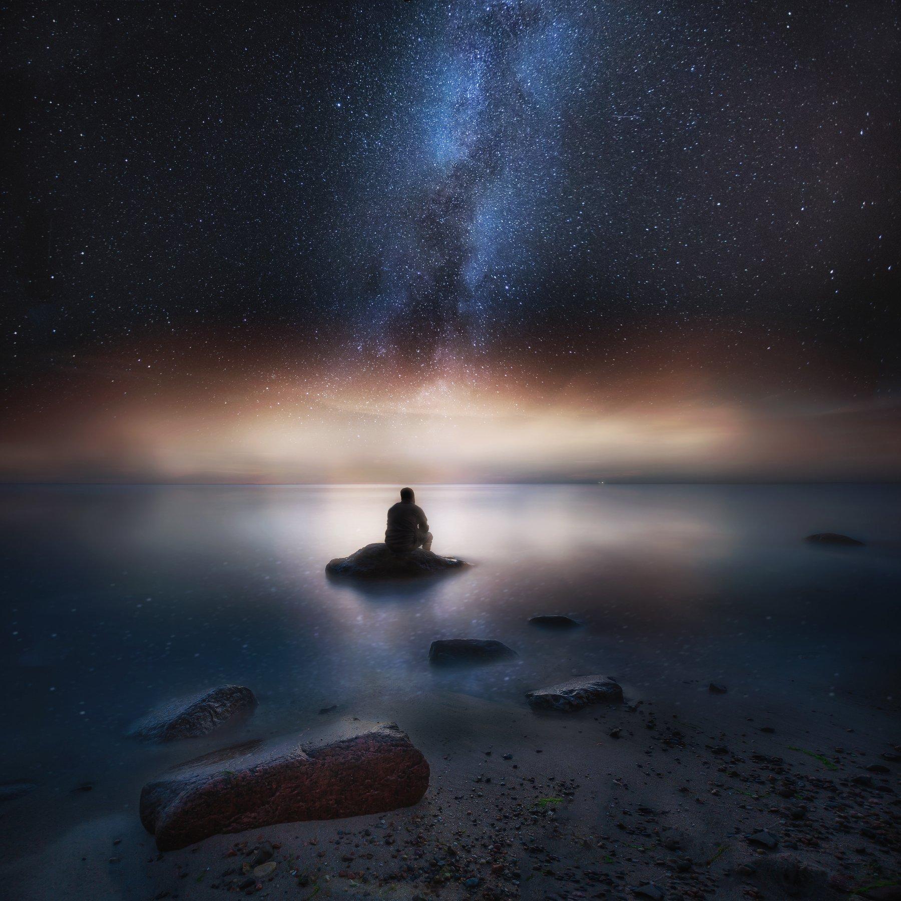 sea, shore, night, photography, milky way, landscape, man, silhouette, Milosz_G