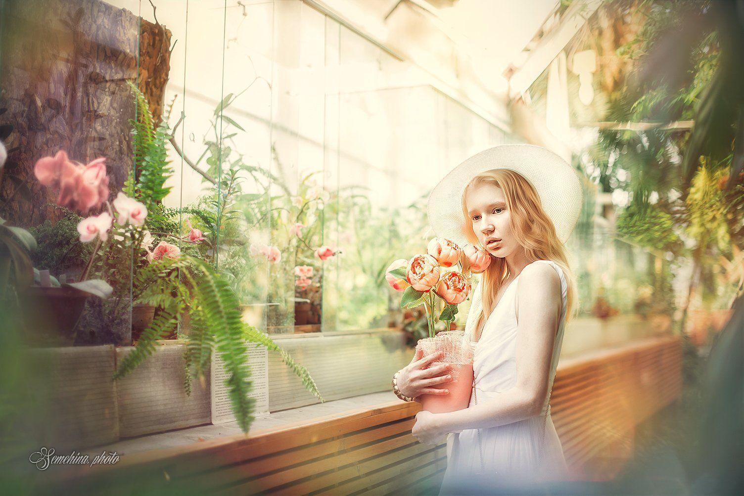 девушка, цветы, платье, шляпа, блондинка, оранжерея, винтаж, Марина Семёхина
