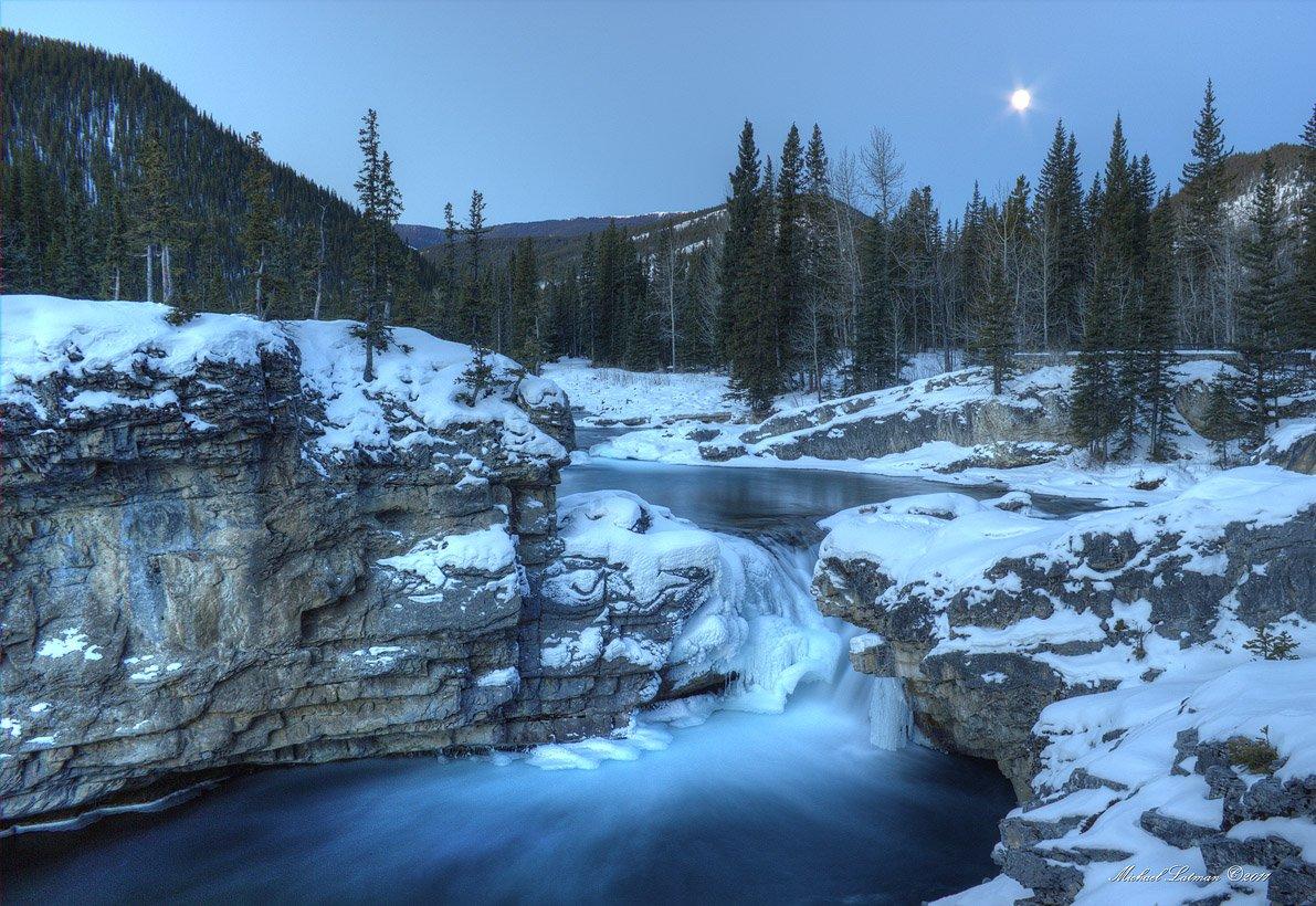 mountains, moon, sunrise, Michael Latman