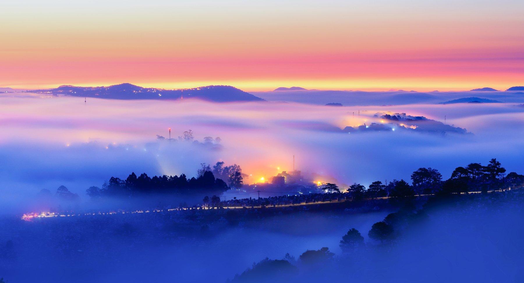 fog, road, vietnam, ray, sunrise, Tuấn Nguyễn