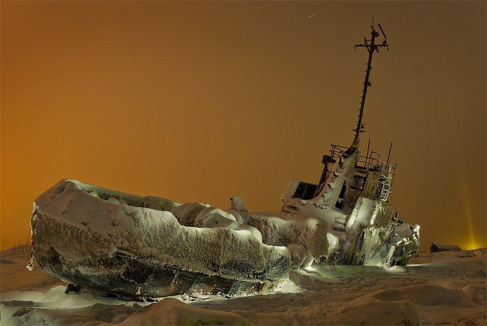 корабль, снег, ночь, Руслан Бабин
