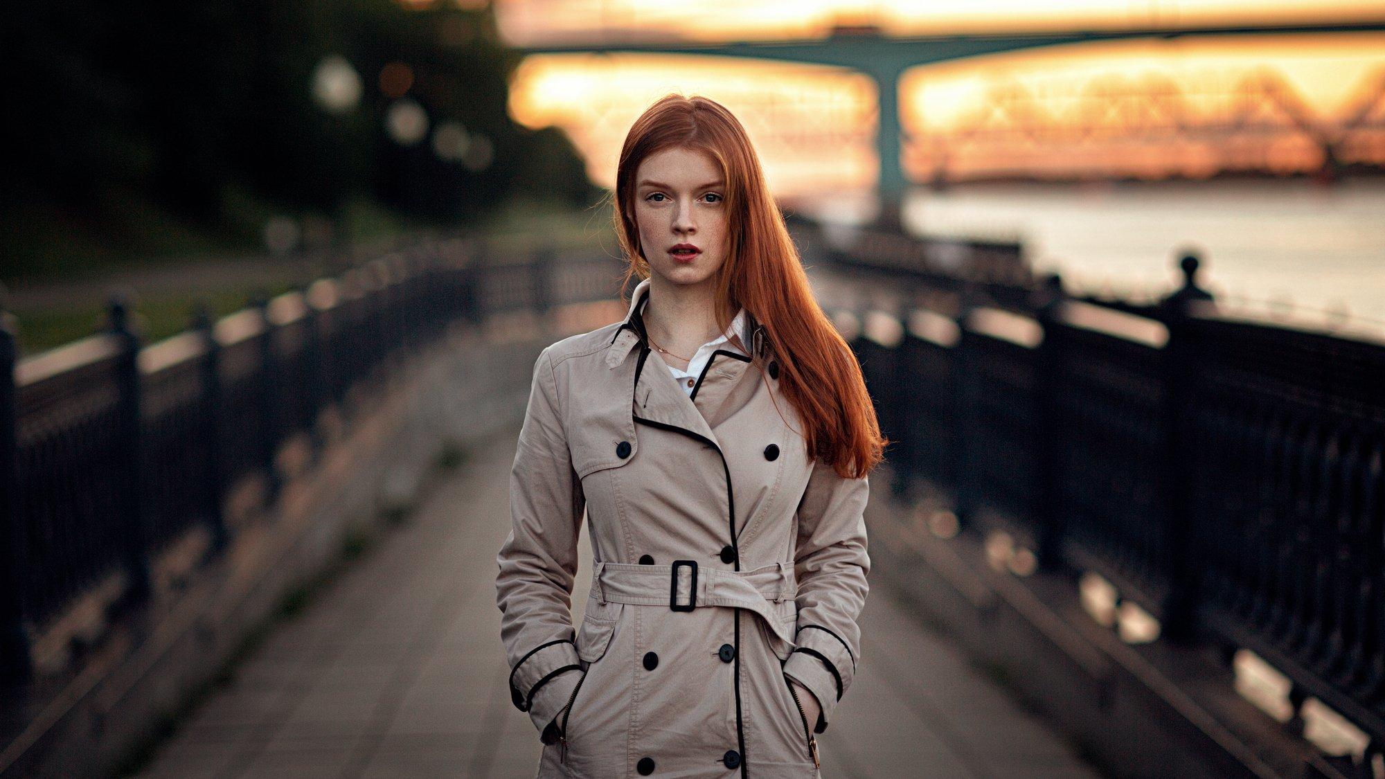 девушка, город, вечер, портрет, арт, Александр Куренной