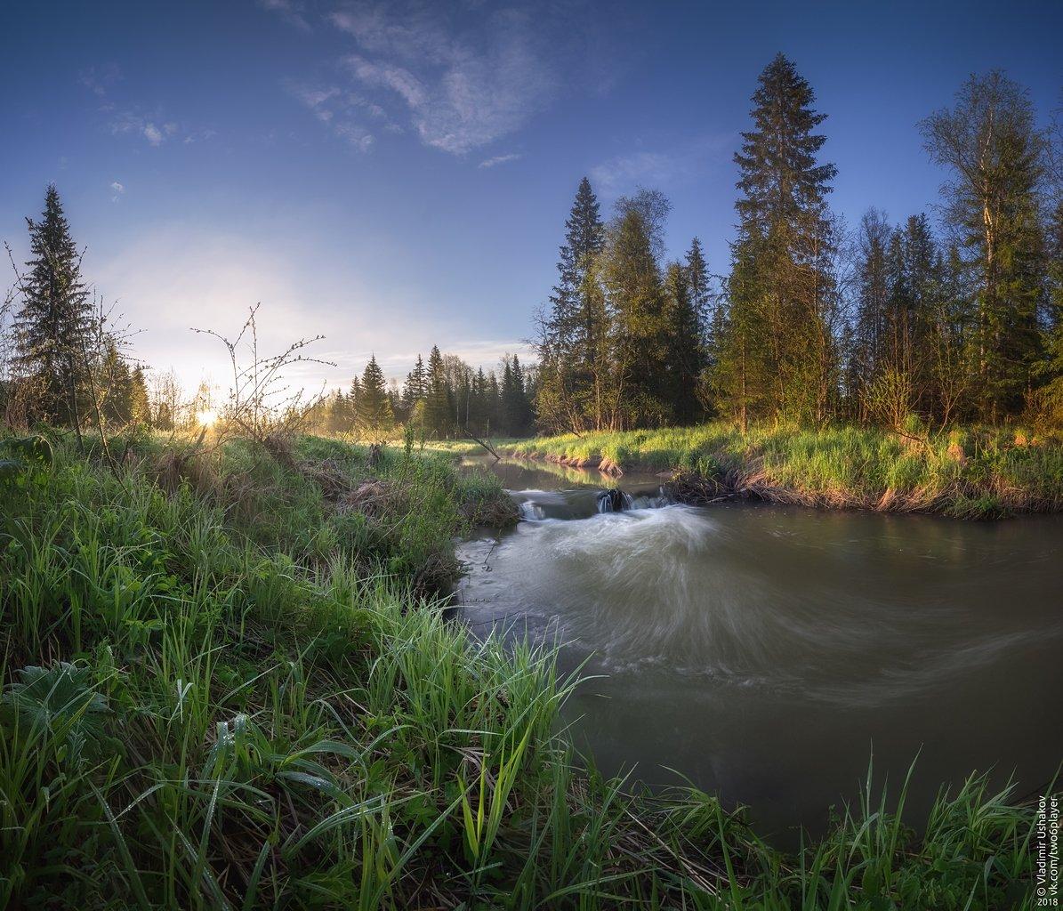 утро, рассвет, берег, река, волим, небо, пермский край, Владимир Ушаков