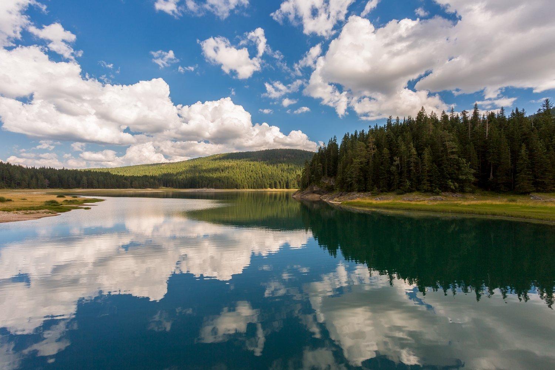 озеро, облака, отражение, небо, вода, лес, голубой, зеленый, Черногория, Дурмитор, Черное озеро, Денис Свечников